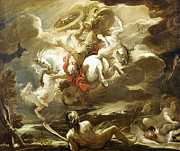 0313219 © Granger - Historical Picture ArchiveFINE ART.   The fall of Phaeton, by Luca Giordano (1634-1705), oil on canvas, 115x136 cm. Full Credit: DEA / L. PEDICINI / Granger, NYC -- All rights reserved.