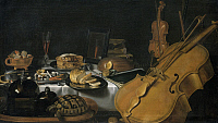 0313277 © Granger - Historical Picture ArchiveFINE ART.   Still life with musical instruments, 1623, by Pieter Claesz (1597-1660). Full Credit: DEA PICTURE LIBRARY / Granger, NYC -- All rights reserved.
