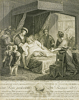 0313579 © Granger - Historical Picture ArchiveFINE ART.   Leonardo da Vinci dying in the arms of Francesco I of France, engraving by Macret from a painting by Francois-Guillaume Menageot exhibited at the Louvre in 1781. Full Credit: DEA / A. DAGLI ORTI / Granger, NYC -- All rights rese