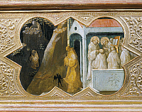 0313639 © Granger - Historical Picture ArchiveFINE ART.   St Benedict tempted by the devil founding his palace, detail of the predella of the Coronation of the Virgin, 1414, by Lorenzo Monaco (ca 1370-1425), tempera on panel, 450x350 cm. Polyptych for the high altar of the Camaldolese monastery of Santa Maria degli Angeli, (St Mary of the Angels) Florence. Full Credit: DEA PICTURE LIBRARY / The Granger