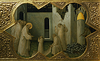 0313640 © Granger - Historical Picture ArchiveFINE ART.   St Benedict saving the life of a young monk, detail from the predella of the Coronation of the Virgin, 1414, by Lorenzo Monaco (ca 1370-1425), tempera on panel, 450x350 cm. Polyptych for the high altar of the Camaldolese monastery of Santa Maria degli Angeli (St Mary of the Angels), Florence. Full Credit: DEA PICTURE LIBRARY / The Granger Collect