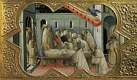 0313641 © Granger - Historical Picture ArchiveFINE ART.   Death of St Benedict, detail of the predella of the Coronation of the Virgin, 1414, by Lorenzo Monaco (ca 1370-1425), tempera on panel, 450x350 cm. Polyptych for the high altar of the Camaldolese monastery of Santa Maria degli Angeli, (St Mary of the Angels) Florence. Full Credit: DEA PICTURE LIBRARY / Granger, NYC -- All rights reserved. THIRD-P