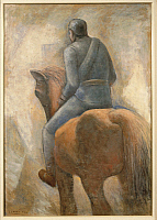0314033 © Granger - Historical Picture ArchiveFINE ART.   Carlo Carrà (1881-1966), Soldier and Horse, 1934. Full Credit: Copyright DEA / A. DAGLI ORTI / Granger, NYC -- All Rights Reserved.