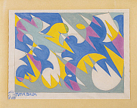 0314090 © Granger - Historical Picture ArchiveFINE ART.   Giacomo Balla (1871-1958), Lines of Space and Speed, 1925-30, drawing for textiles. Full Credit: Copyright DEA / L. DE MASI / Granger, NYC -- All rights reserved.