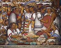 0314111 © Granger - Historical Picture ArchiveFINE ART.   Fruit and vegetables market, a mural painting in the Governor of Tlaxcala's Palace by Desiderio Hernandez Xochitiotzin, 1961, Mexico 20th century. Details. Full Credit: Copyright DEA / G. DAGLI ORTI / Granger, NYC -- All rights