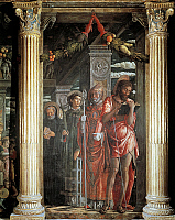 0314303 © Granger - Historical Picture ArchiveFINE ART.   Saints John and Lorenzo and two Saints, detail from San Zeno Altarpiece, 1456-1460, by Andrea Mantegna (1431-1506), wood, 220x115 cm. Basilica of San Zeno, Verona. Full Credit: DEA PICTURE LIBRARY / Granger, NYC -- All rights re