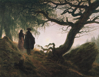 0314384 © Granger - Historical Picture ArchiveFINE ART.   'Man and Woman Contemplating the Moon.' Oil on canvas by Caspar David Friedrich, c1824. Full Credit: DEA PICTURE LIBRARY / Granger, NYC -- All rights reserved.