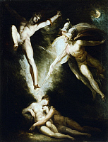 0314427 © Granger - Historical Picture ArchiveFINE ART.   Satan touched by Ithuriel's sword, by Johann Heinrich Fussli (1741-1825). Full Credit: DEA PICTURE LIBRARY / Granger, NYC -- All rights reserved.