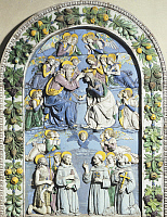 0314588 © Granger - Historical Picture ArchiveFINE ART.   Coronation of the Virgin, by Andrea della Robbia (1435-1525), glazed earthenware. Cathedral of Santa Maria Assunta in La Spezia, Liguria. Full Credit: DEA / G. NIMATALLAH / Granger, NYC -- All rights reserved.