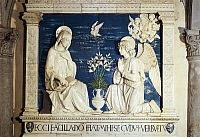 0314748 © Granger - Historical Picture ArchiveFINE ART.   Annunciation, by Andrea della Robbia (1435-1525). Sanctuary of La Verna in Arezzo, Tuscany. Full Credit: DEA / G. BARONE / Granger, NYC -- All rights reserved.