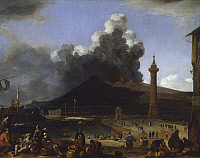 0314850 © Granger - Historical Picture ArchiveFINE ART.   The port of Naples with Vesuvius erupting, by Johannes Lingelbach (1622-1674), Italy 17th Century. Full Credit: DEA / A. DAGLI ORTI / Granger, NYC -- All rights reserve