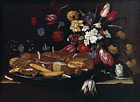 0314916 © Granger - Historical Picture ArchiveFINE ART.   Still life with bread, biscuits and flowers, by Giuseppe Recco (1634-1695), oil on canvas. Full Credit: DEA / A. DAGLI ORTI / Granger, NYC -- All rights reserved.