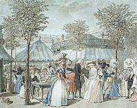 0314967 © Granger - Historical Picture ArchiveFINE ART.   Strolling in the Palais Royal Garden in Paris by Debucourt, France 18th Century. Engraving, detail. Full Credit: DEA / M. SEEMULLER / Granger, NYC -- All rights reserve