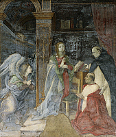 0315026 © Granger - Historical Picture ArchiveFINE ART.   Annunciation with Cardinal Carafa being presented to the Virgin by St Thomas, 1488-1493, by Filippino Lippi (1457 ca- 1504), fresco. The Basilica of Saint Mary Above Minerva, Carafa Chapel, center wall, Rome. Full Credit: DEA / V. PIROZZI / Granger, NYC -- All rights reserved.