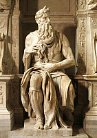 0315136 © Granger - Historical Picture ArchiveFINE ART.   Moses, detail from the Tomb of Julius II, ca 1515, by Michelangelo (1475-1564). Basilica of St Peter in Chains, Rome, Lazio. Full Credit: DEA / G. NIMATALLAH / Granger, NYC -- All Rights Reserved.