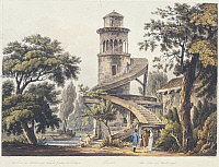 0315459 © Granger - Historical Picture ArchiveFINE ART.   Marlborough Tower in The Trianon Gardens at Versailles, 1809, France 19th Century. Aquatint etching. Full Credit: DEA / G. DAGLI ORTI / Granger, NYC -- All rights reser
