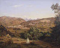 0315468 © Granger - Historical Picture ArchiveFINE ART.   View of Massa, 1843, Antonio Fontanesi (1818-1882), Italy 19th Century. Full Credit: DEA PICTURE LIBRARY / Granger, NYC -- All Rights Reserved.