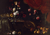 0315513 © Granger - Historical Picture ArchiveFINE ART.   Flowers, fruits and sweets, by Giuseppe Recco (1634-1695). Full Credit: DEA / A. DAGLI ORTI / Granger, NYC -- All Rights Reserved.