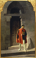 0315687 © Granger - Historical Picture ArchiveFINE ART.   Door of the house of the Alighieri, Memory of Florence, 1859, by Federico Faruffini (1831-1869), oil on canvas, 130x75 cm. Full Credit: DEA PICTURE LIBRARY / Granger, NYC -- All Rights Reserved.