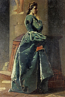 0315690 © Granger - Historical Picture ArchiveFINE ART.   The woman in green, by Federico Faruffini (1831-1869), oil on canvas. Full Credit: DEA PICTURE LIBRARY / Granger, NYC -- All Rights Reserved.
