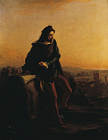 0315694 © Granger - Historical Picture ArchiveFINE ART.   Cola di Rienzo, Contemplating the ruins of Rome from above, 1855, by Federico Faruffini (1831-1869), oil on canvas, 146x122 cm. Full Credit: DEA PICTURE LIBRARY / Granger, NYC -- All Rights Reserved.