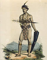0316169 © Granger - Historical Picture ArchiveFINE ART.   Standard bearer in ceremonial costume in Tondo from Voyage de la Corvette l'Astrolabe by Jules S. C. Dumont D'Urville, 1826-1829, Indonesia 19th century. Engraving. Full Credit: DEA / G. DAGLI ORTI / Granger, NYC -- All rights r