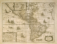 0316418 © Granger - Historical Picture ArchiveFINE ART.   Cartography, 17th century. Map of the Americas by Henricus Hondius, 1631. Full Credit: DEA PICTURE LIBRARY / Granger, NYC -- All rights reserved.