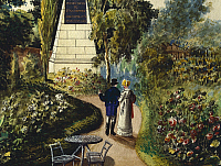 0316490 © Granger - Historical Picture ArchiveFINE ART.   A view of Baumscher Garden in Vienna, Austria 19th Century. Detail. Full Credit: DEA / A. DAGLI ORTI / Granger, NYC -- All Rights Reserved.