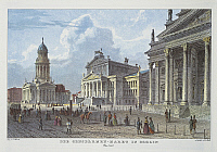 0316606 © Granger - Historical Picture ArchiveFINE ART.   Germany, 19th century. Berlin. Gendarmenmarkt in 1850 with the twin churches of Deutscher Dom and Franzosischer Dom and the Konzerthaus (Concert House) in the centre. Full Credit: DEA PICTURE LIBRARY / Granger, NYC -- All rights