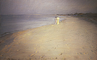 0316662 © Granger - Historical Picture ArchiveFINE ART.   Peder Severin Kroyer (1851-1909), Summer Night on the Beach at Skagen 1893. Full Credit: DEA / L. DOUGLAS / Granger, NYC -- All rights reserved.