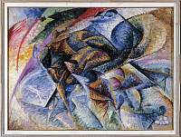 0316787 © Granger - Historical Picture ArchiveFINE ART.   Umberto Boccioni (1882-1916), Dynamism of a Cyclist, 1913, oil on canvas. Full Credit: DEA / M. E. SMITH / Granger, NYC -- All Rights Reserved.
