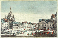 0316822 © Granger - Historical Picture ArchiveFINE ART.   Square Market in Dresden with the Frauenkirche, Germany 18th Century. Full Credit: DEA PICTURE LIBRARY / Granger, NYC -- All Rights Reserved.