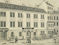 0316851 © Granger - Historical Picture ArchiveFINE ART.   King Of Hungary Hotel in Vienna. Engraving, Austria 19th Century. Full Credit: DEA / A. DAGLI ORTI / Granger, NYC -- All Rights Reserved.