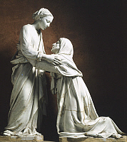0316886 © Granger - Historical Picture ArchiveFINE ART.   Visitation, by Luca della Robbia (ca 1400-1482). Church of San Giovanni Fuor Civitas in Pistoia, Tuscany. Full Credit: DEA / G. NIMATALLAH / Granger, NYC -- All rights