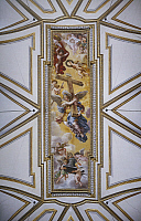 0317027 © Granger - Historical Picture ArchiveFINE ART.   Angels carrying the instruments of the passion, 1633, by Pietro da Cortona (1596-1669), fresco. New Church or Church of Santa Maria in Valicella, ceiling of the sacristy, Rome. Full Credit: DEA / G. NIMATALLAH / Granger, NYC -- All Rights Reserved.