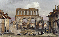 0317109 © Granger - Historical Picture ArchiveFINE ART.   The Roman ruins at Porta di Arroux (Roman gates) in Autun, France 19th Century. Full Credit: DEA / G. DAGLI ORTI / Granger, NYC -- All rights reserved.