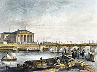 0317122 © Granger - Historical Picture ArchiveFINE ART.   The Chamber of Deputies on the Seine, Paris, France 19th century. Engraving. Full Credit: DEA / G. DAGLI ORTI / Granger, NYC -- All rights reserved.