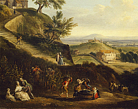 0317287 © Granger - Historical Picture ArchiveFINE ART.   View of Dijon from Daix, by Jean-Baptiste Lallemand, France 18th Century. Grape pressing, detail. Full Credit: DEA / G. DAGLI ORTI / Granger, NYC -- All rights reserved
