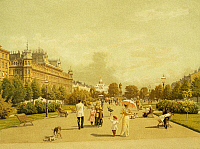 0317334 © Granger - Historical Picture ArchiveFINE ART.   Esplanade Park, Helsinki, Finland 19th century. Painting. Full Credit: DEA / A. DAGLI ORTI / Granger, NYC -- All Rights Reserved.