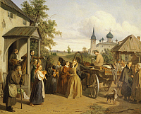 0317624 © Granger - Historical Picture ArchiveFINE ART.   An official saying goodbye to his family by Aleksei Filippovich Chernyshev, Russia 19th century. Detail. Full Credit: DEA / A. DAGLI ORTI / Granger, NYC -- All rights r