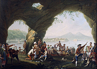 0317652 © Granger - Historical Picture ArchiveFINE ART.   Pietro Fabris (active 1768-1778). Scenes of everyday life in a cave in Posillipo, near Naples. Full Credit: DEA / A. DAGLI ORTI / Granger, NYC -- All rights reserved.