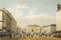 0317721 © Granger - Historical Picture ArchiveFINE ART.   The large square in Trieste, by Philippe Benoist (1813-1880), Italy 19th century. Full Credit: DEA / G. DAGLI ORTI / Granger, NYC -- All rights reserved.