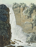 0317776 © Granger - Historical Picture ArchiveFINE ART.   View of Taquendama waterfall on Bogota plateau, from The Atlas of South America by Giulio Ferrario, 1827, Colombia 19th Century. Full Credit: DEA / G. DAGLI ORTI / Granger, NYC -- All Rights Reserved.