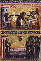 0317829 © Granger - Historical Picture ArchiveFINE ART.   Washing of the feet and the Foundation of a monastery, scenes from St Francis and Twenty Episodes from his Life , 1240-1245, by Coppo di Marcovaldo (ca 1220-1276), panel. Basilica of Santa Croce, Bardi Chapel, Florence, Italy. Full Credit: DEA / G. DAGLI ORTI / Granger, NYC -- All rights