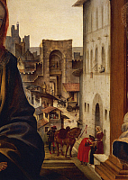 0317845 © Granger - Historical Picture ArchiveFINE ART.   Florence and Borgo San Frediano Street, detail from the Altarpiece for Tanai de' Nerli (known as Pala Nerli), 1493, by Filippino Lippi (1457-1504). Church of Santo Spirito, Florence. Full Credit: DEA / G. DAGLI ORTI / Granger, NYC -- All Rights Reserved.