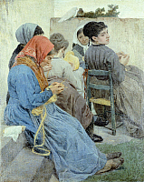 0317945 © Granger - Historical Picture ArchiveFINE ART.   The knitters, 1868, by Egisto Ferroni (1835-1912), oil on canvas, 133x108 cm. Full Credit: DEA PICTURE LIBRARY / Granger, NYC -- All rights reserved.