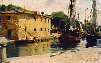 0317957 © Granger - Historical Picture ArchiveFINE ART.   Dock in Viareggio, 1885-1890, by Federico Andreotti (1847-1930), oil on wood, 9x15 cm. Full Credit: DEA PICTURE LIBRARY / Granger, NYC -- All rights reserved.