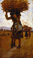 0317972 © Granger - Historical Picture ArchiveFINE ART.   Female loggers from San Rossore (study), 1885-1886, by Francesco Gioli (1846-1922), oil on panel, 39x22 cm. Full Credit: DEA PICTURE LIBRARY / Granger, NYC -- All right