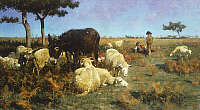 0318041 © Granger - Historical Picture ArchiveFINE ART.   Grazing, 1885-1890, by Stefano Bruzzi (1835-1911), oil on canvas, 45x82 cm. Full Credit: DEA PICTURE LIBRARY / Granger, NYC -- All rights reserved.