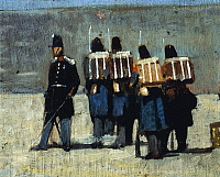 0318126 © Granger - Historical Picture ArchiveFINE ART.   French soldiers in '59, 1859, by Giovanni Fattori (1825-1908), oil on panel, 15.5x32cm. Detail. Full Credit: DEA / A. DAGLI ORTI / Granger, NYC -- All rights reserved.